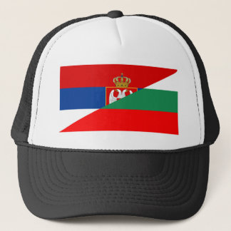 serbia bulgaria flag country half symbol trucker hat