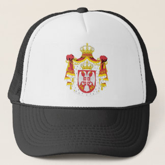 Serbia coat of arma trucker hat