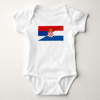 serbia croatia flag country half symbol baby bodysuit