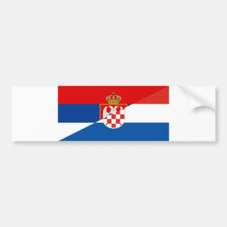 serbia croatia flag country half symbol bumper sticker