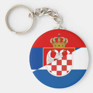 serbia croatia flag country half symbol key ring
