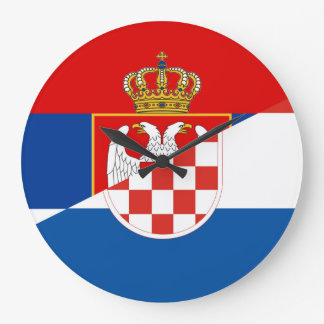 serbia croatia flag country half symbol large clock