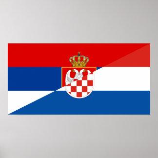 serbia croatia flag country half symbol poster