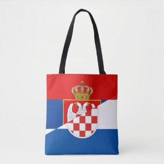 serbia croatia flag country half symbol tote bag