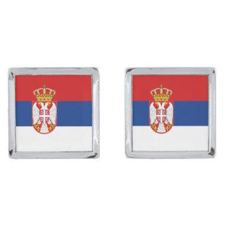 Serbia Flag Cufflinks Silver Finish Cufflinks