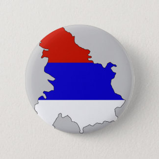 Serbia flag map 6 cm round badge