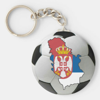 Serbia football basic round button key ring