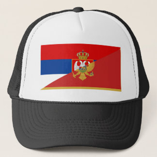 serbia montenegro flag country half symbol trucker hat