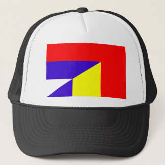 serbia romania flag country half symbol trucker hat