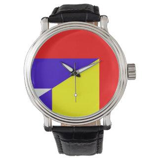 serbia romania flag country half symbol watch
