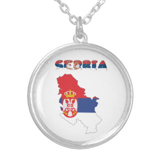 Serbian country flag silver plated necklace