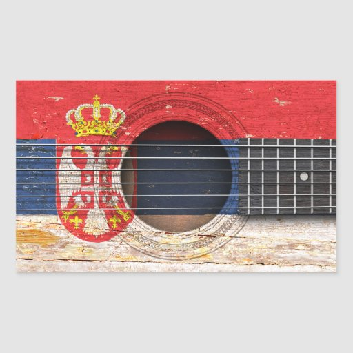 Serbian Flag on Old Acoustic Guitar Stickers