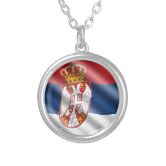 Serbian flag silver plated necklace