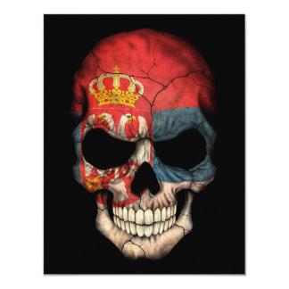Serbian Flag Skull on Black Custom Invitations