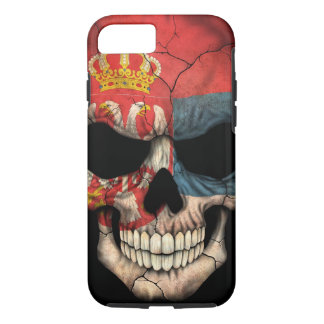 Serbian Flag Skull on Black iPhone 7 Case