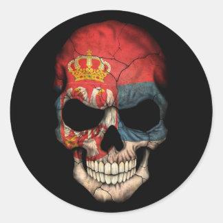 Serbian Flag Skull on Black Round Sticker