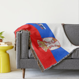 Serbian flag throw blanket
