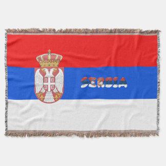 Serbian flag throw blanket