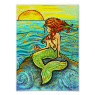 """""""Serena by the Sea"""" Mermaid Poster"""