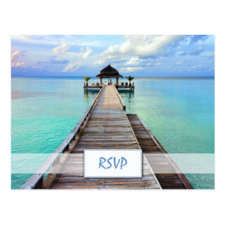 Serenade Jetty Maldives Beach Wedding RSVP Postcard