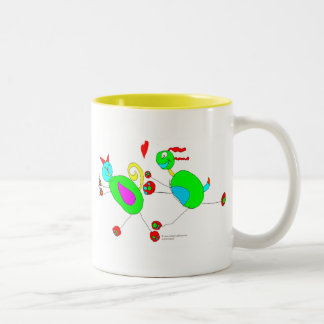Serena's Cat and Dog Chase Two-Tone Coffee Mug