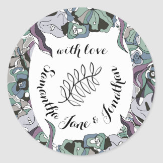 Serendipity Floral Forest Wedding Suite Classic Round Sticker