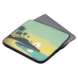 Serene Beach Sunset & Palm Trees Laptop Sleeve