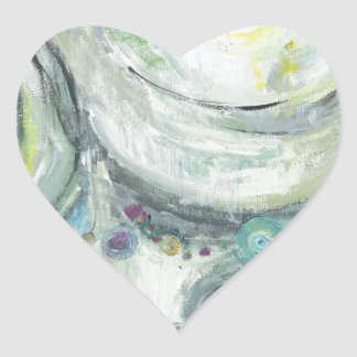 Serene Circles (abstract expressionism ) Heart Sticker