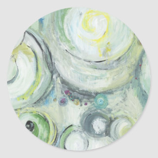 Serene Circles (abstract expressionism ) Round Sticker