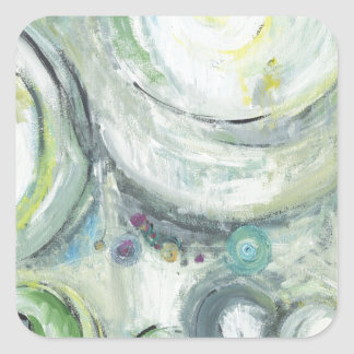 Serene Circles (abstract expressionism ) Square Sticker