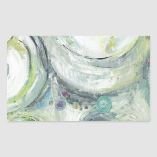 Serene Circles abstract expressionism Rectangular Stickers