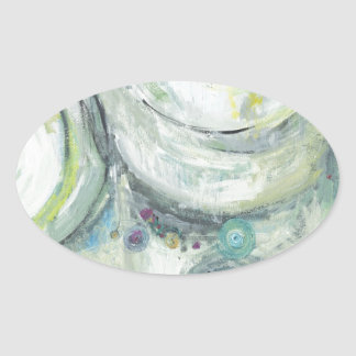 Serene Circles abstract expressionism Oval Stickers