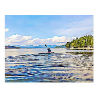 Serene Lake Kayak Canoe Photo Postcard