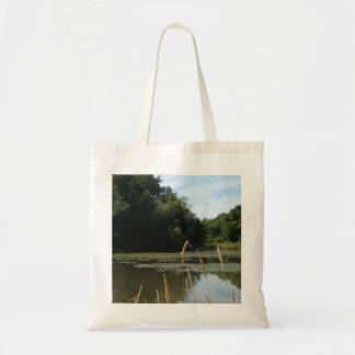 serene lake trees tote bag
