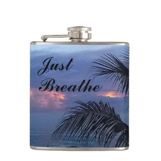 Serene Ocean Sunrise Palm Tree Hip Flask