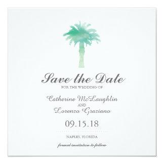 Serene Palm Tree Watercolor   Save the Date 13 Cm X 13 Cm Square Invitation Card