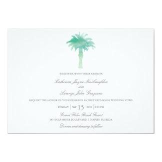 Serene Palm Tree Watercolor  | Wedding 13 Cm X 18 Cm Invitation Card