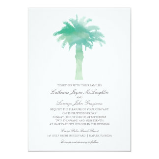 Serene Palm Tree Watercolor  | Wedding Card