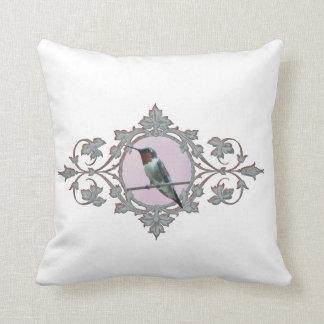 Serene Resting Ruby Throated Hummingbird Cushion