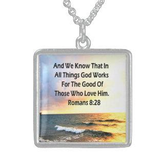SERENE ROMANS 8:28 SCRIPTURE VERSE STERLING SILVER NECKLACE