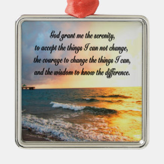 SERENE SERENITY PRAYER SUNRISE PHOTO DESIGN METAL ORNAMENT