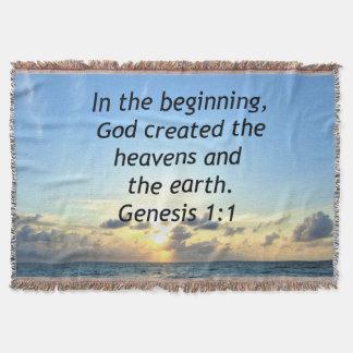 SERENE SUNRISE GENESIS 1:1 PHOTO SCRIPTURE THROW BLANKET