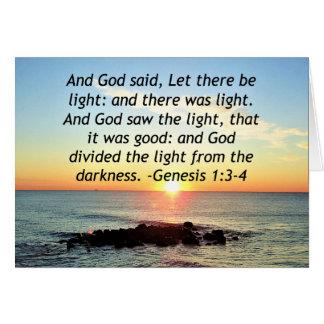 Serene Sunrise Genesis 1:3 Bible Design Card