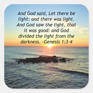 Serene Sunrise Genesis 1:3 Bible Design Square Sticker