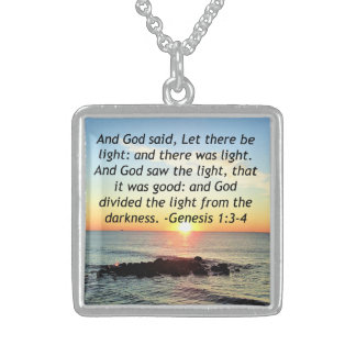 Serene Sunrise Genesis 1:3 Bible Design Sterling Silver Necklace