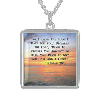 SERENE SUNRISE JEREMIAH 29:11 BIBLE VERSE STERLING SILVER NECKLACE