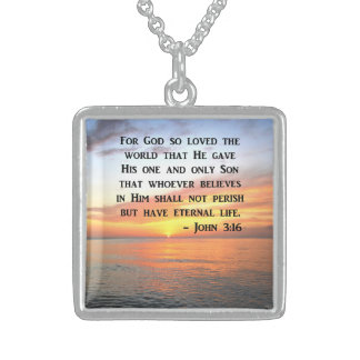 SERENE SUNRISE JOHN 3:16 PHOTO DESIGN STERLING SILVER NECKLACE