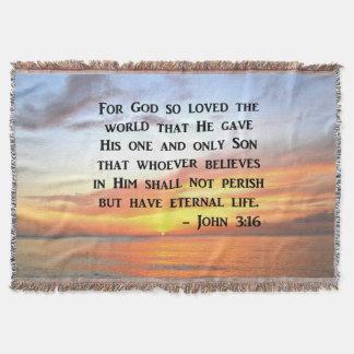 SERENE SUNRISE JOHN 3:16 PHOTO DESIGN THROW BLANKET