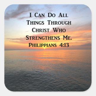 SERENE SUNRISE PHILIPPIANS 4:13 PHOTO SCRIPTURE SQUARE STICKER