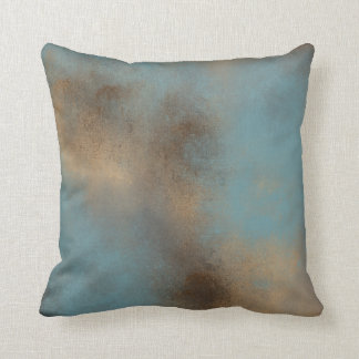 Serene Teal-Blue, Gold and Brown Throw Pillow